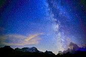 Milky Way galaxy, Monte Rosa, Chapel, Swiss Alps landscape night