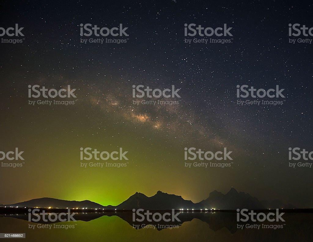 Milky Way Galaxy on green sky stock photo