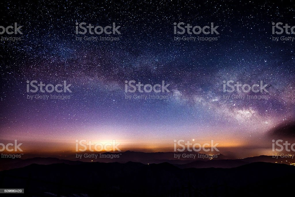 Milky Way Galaxy over Mountain at Night, Deogyusan mountain. stock photo