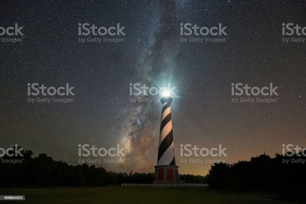 Milky Way Galaxy rising behind Cape Hatteras Lighthouse stock photo