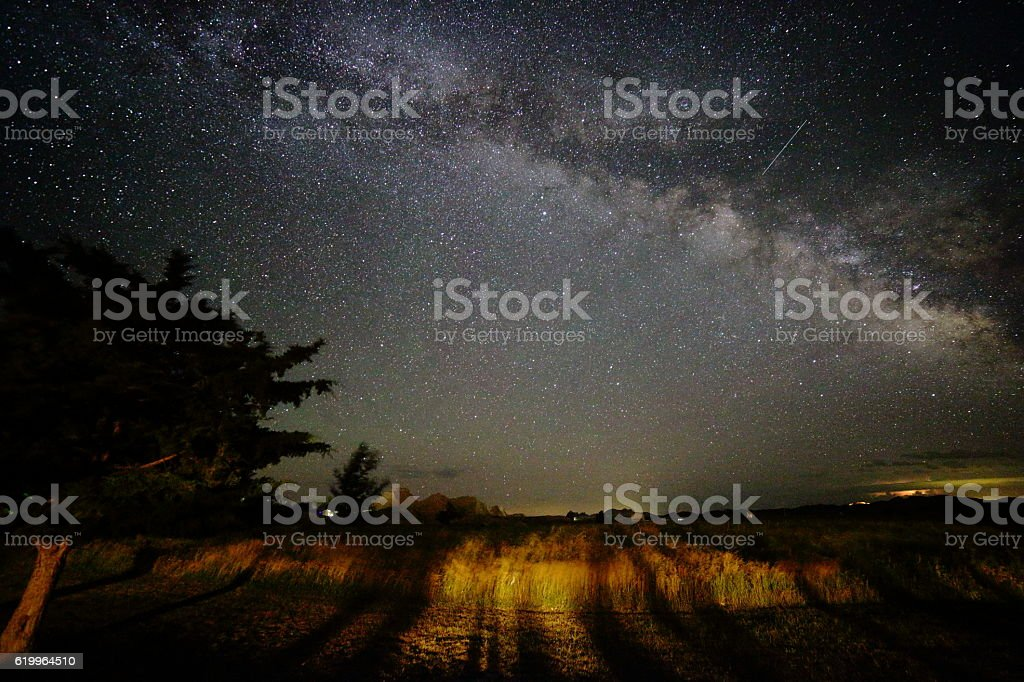 Milky Way Galaxy Shines Brightly Above the Horizon stock photo