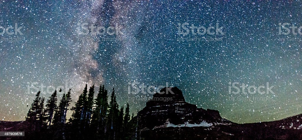 Milky Way Galaxy View Reynolds Mountain Glacier National Park Montana stock photo