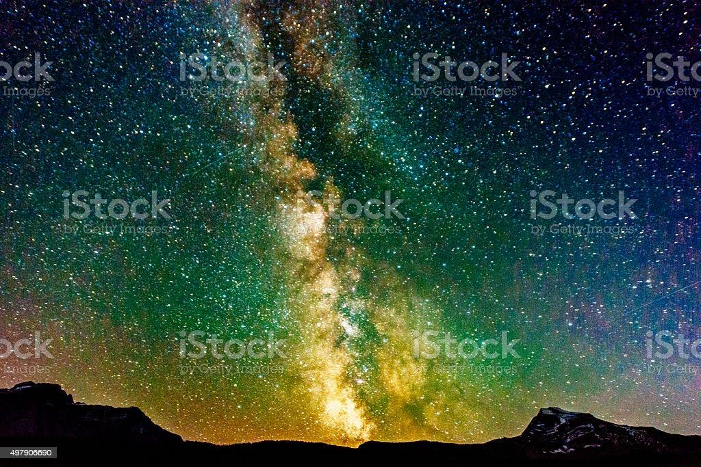 Milky Way Galaxy View Reynolds Mountain Glacier National Park Montana stock photo