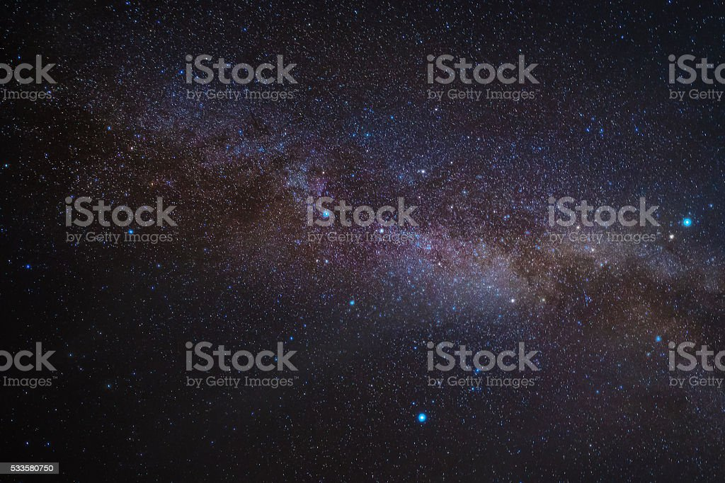Milky way galaxy with Bright Stars  and space dust stock photo