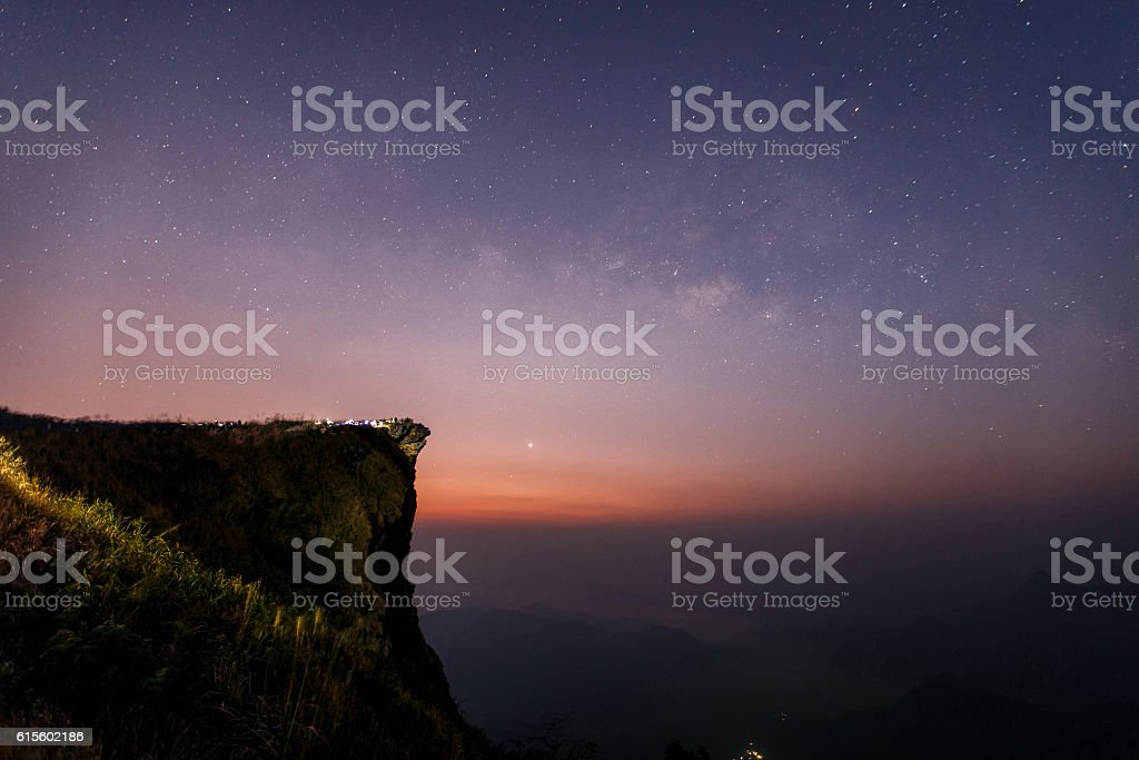 Milky way galaxy with stars and space dust stock photo