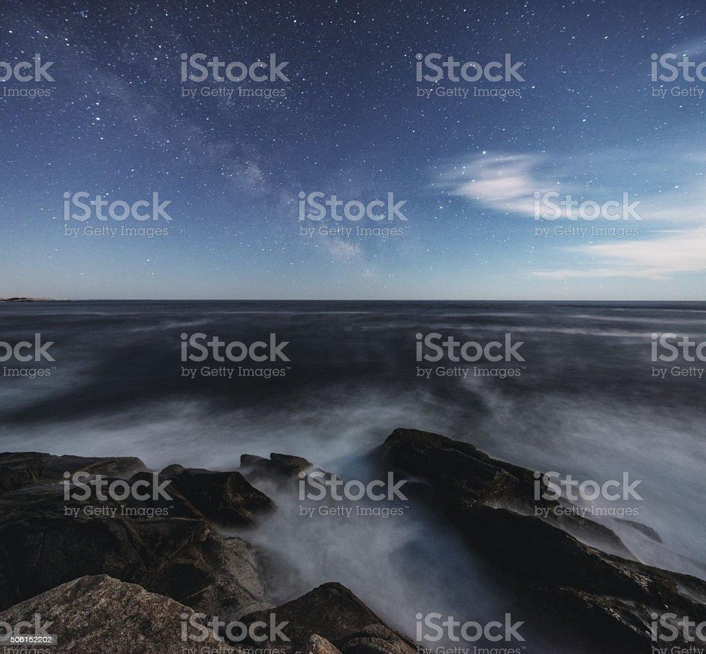 Milky Way in Moonlight stock photo