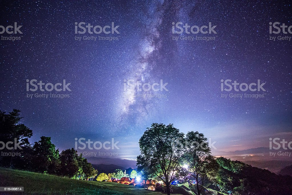 Milky way in Sri Nan national park, Thailand stock photo