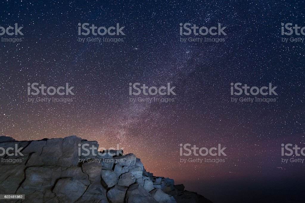 Milky Way in Starry Sky Haleakala National Park Maui Hawaii stock photo