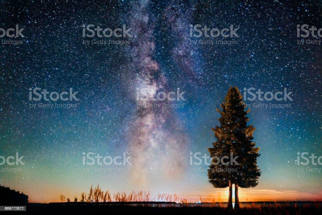 Milky way moon set stock photo