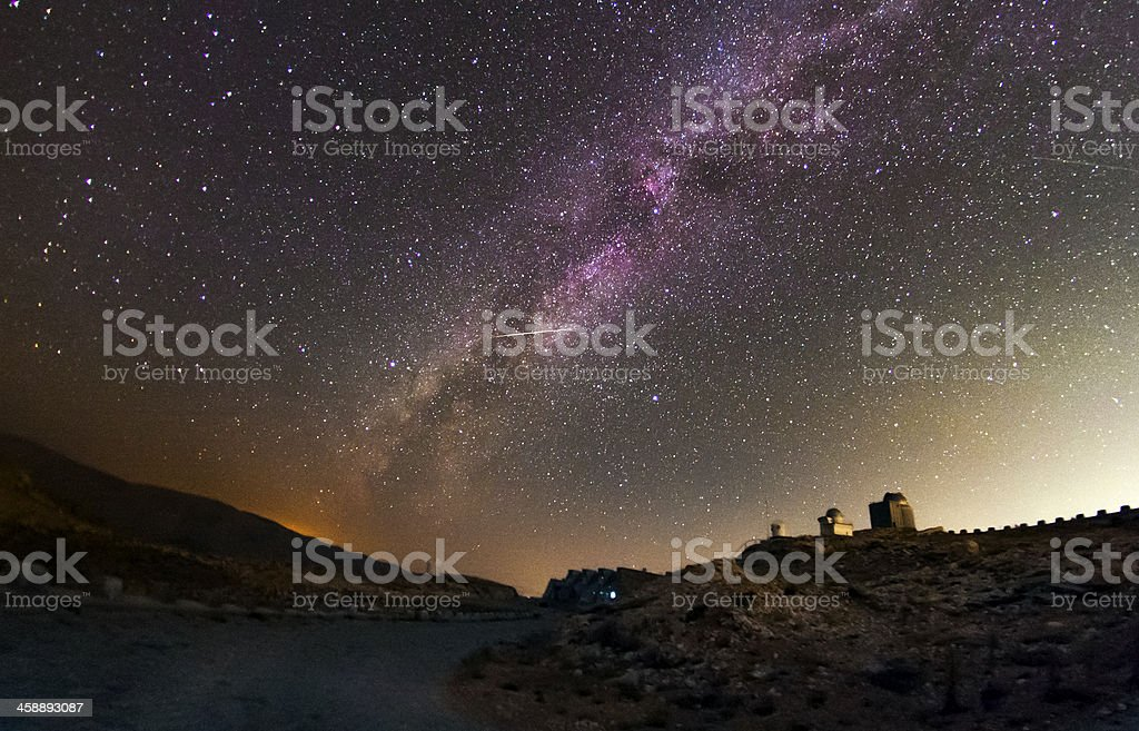 Milky way,  Observatory and a Shooting Star royalty-free stock photo