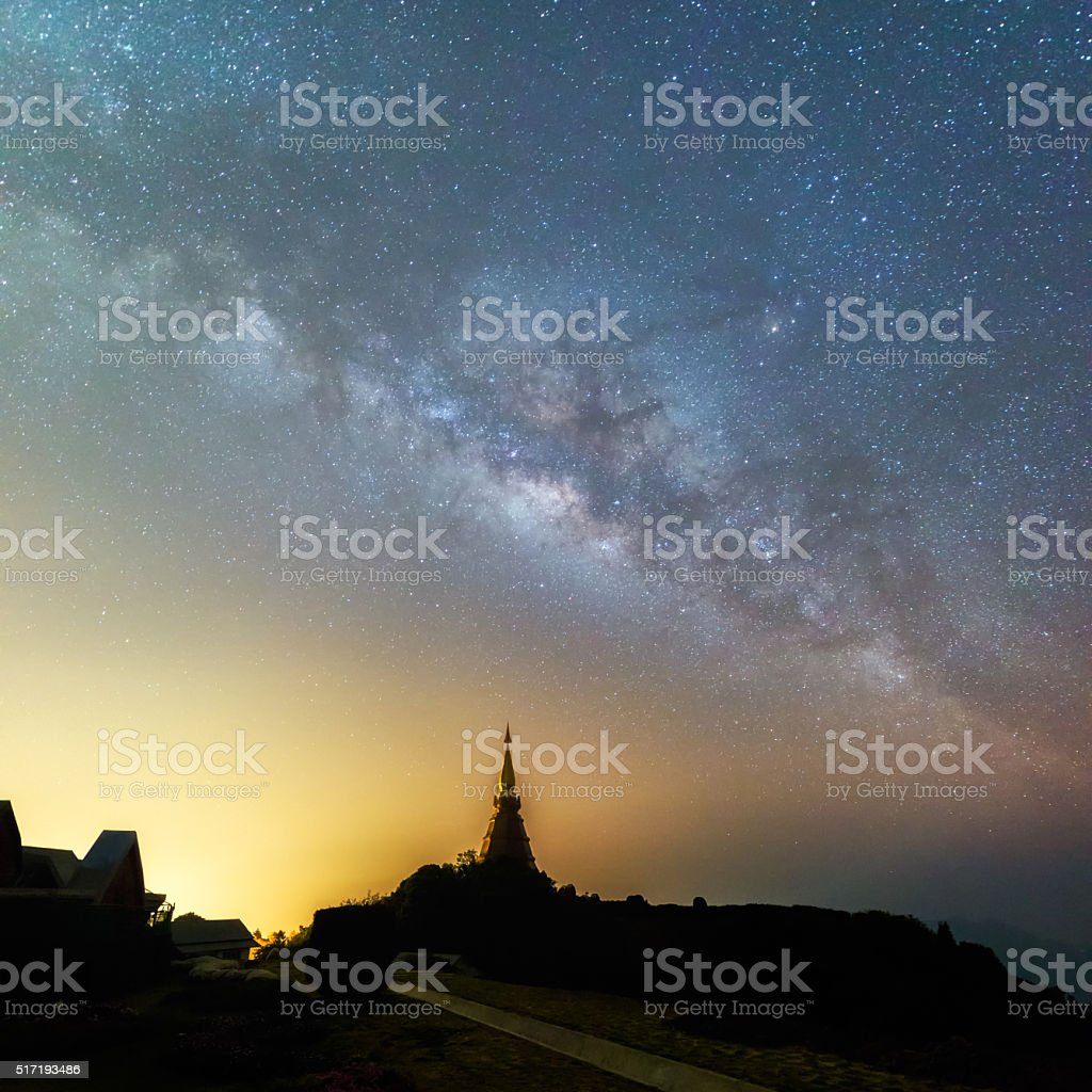Milky way on Doi Inthanon stock photo
