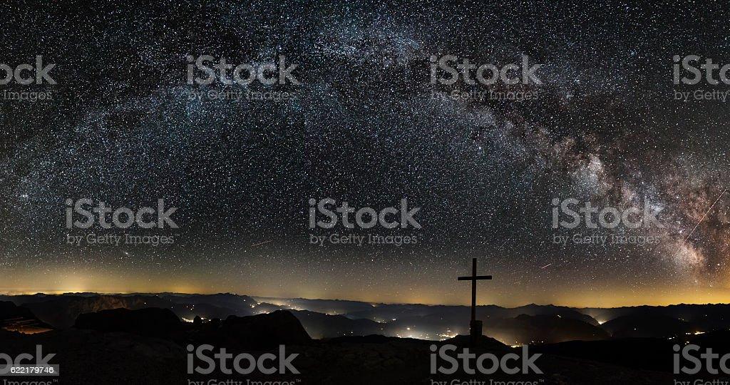 Milky Way on top of Mount Hochkönig in Alps stock photo