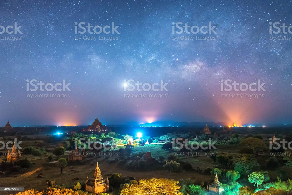 milky way over ancient pagoda in bagan stock photo