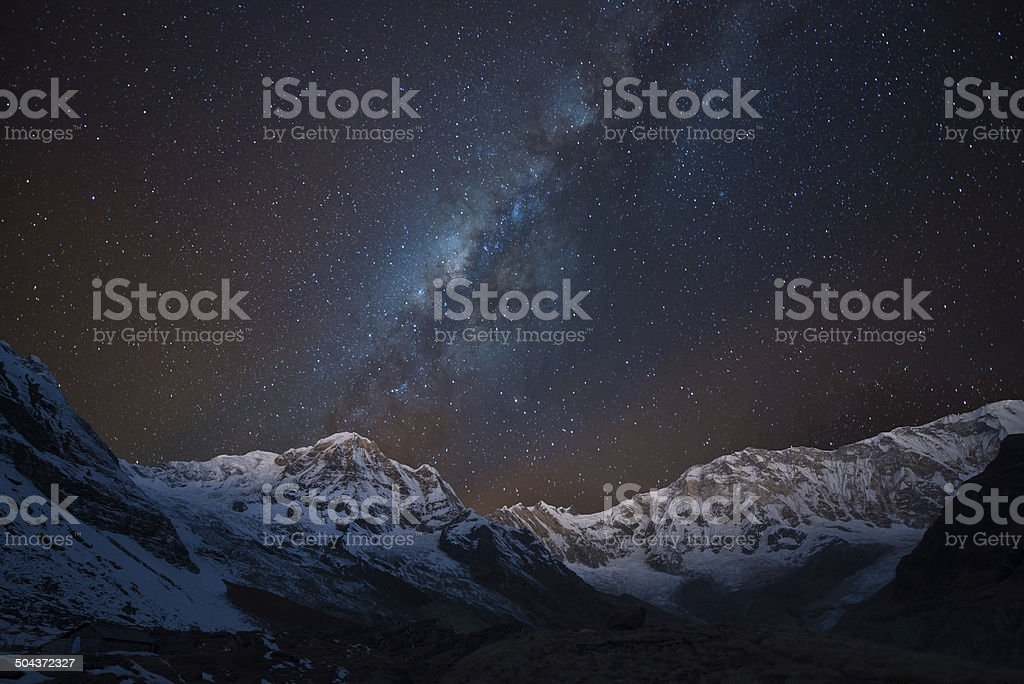 Milky way over Annapurna range,  Nepal stock photo