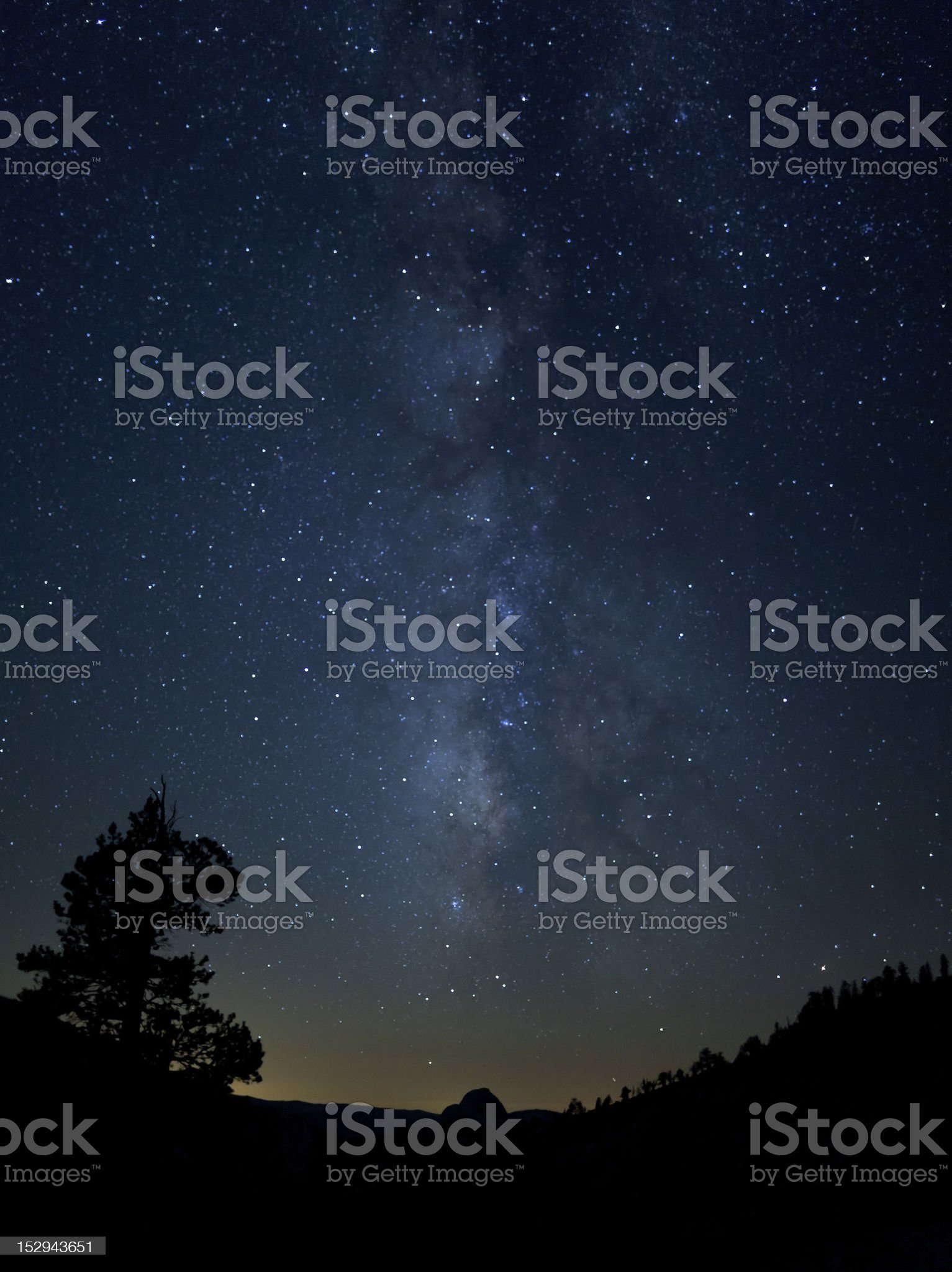 Milky Way over Half Dome royalty-free stock photo