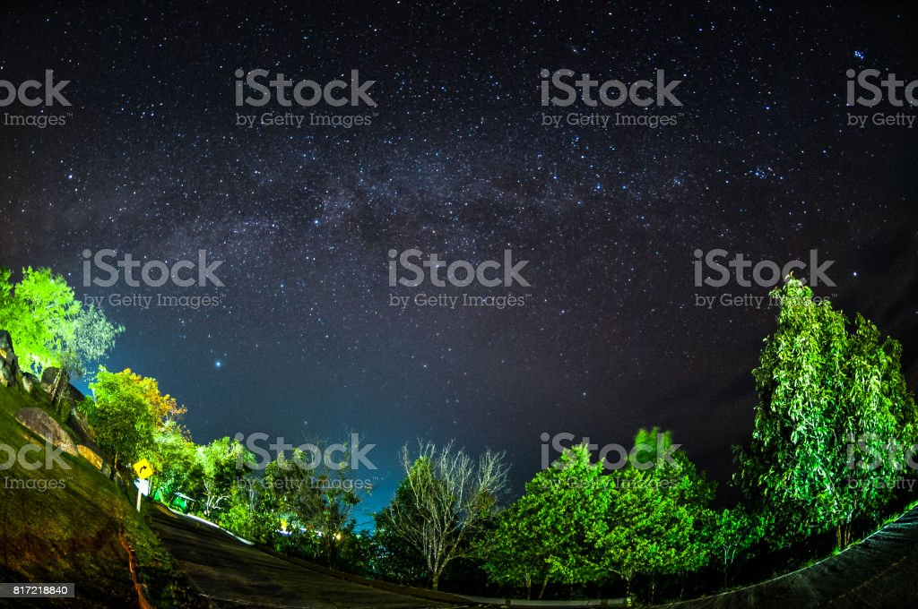 Milky way over Huai Nam Dang National Park in Chiang Mai, North of Thailand. stock photo