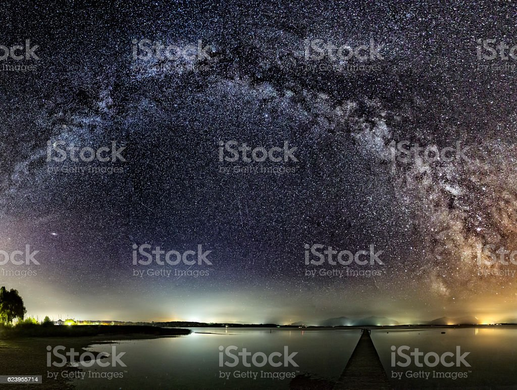 Milky Way over Jetty at Lake Chiemsee stock photo