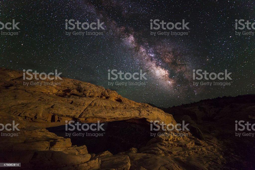 Milky Way Over Mesa Arch stock photo