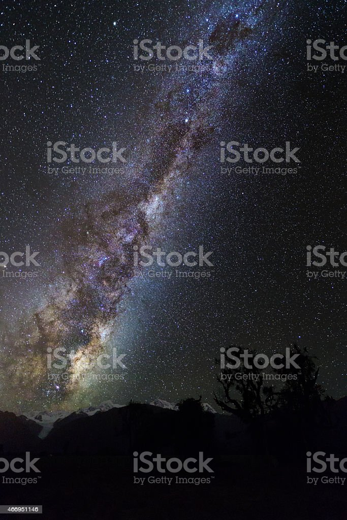 Milky Way over New Zealand's Southern Alps stock photo