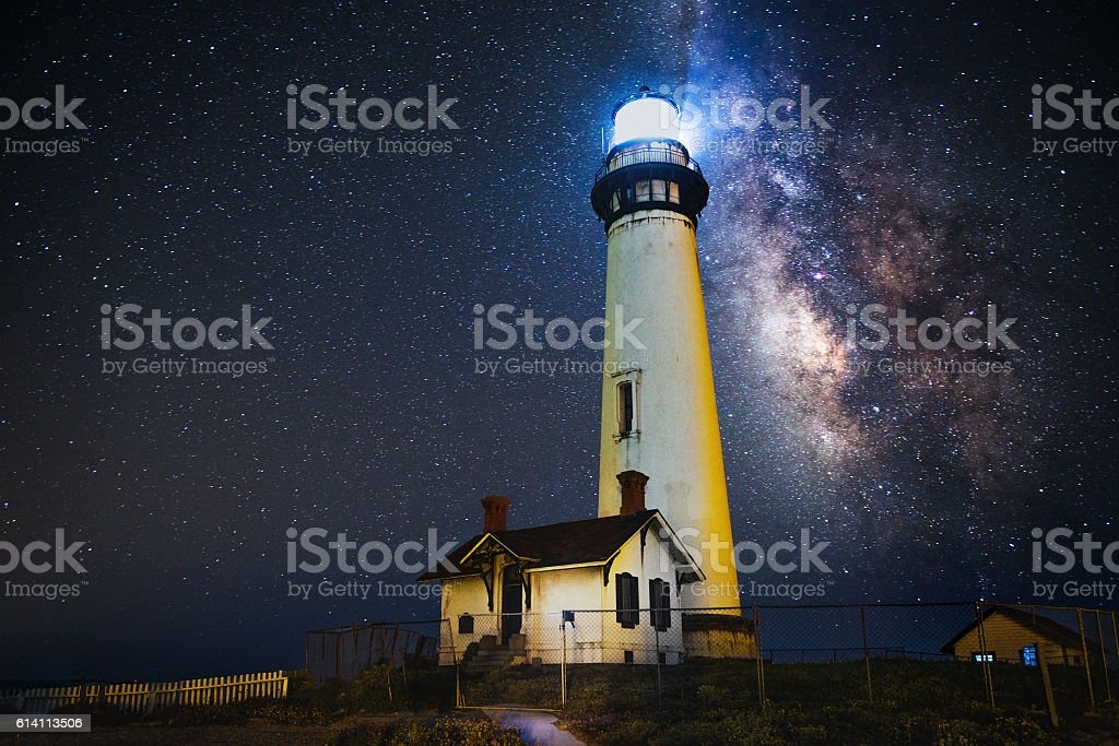 Milky way over Pogeon Point Lighthouse stock photo