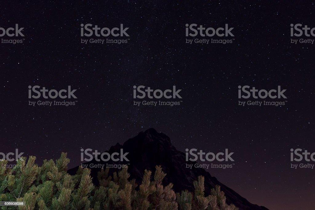 milky way over sonnenspitze stock photo