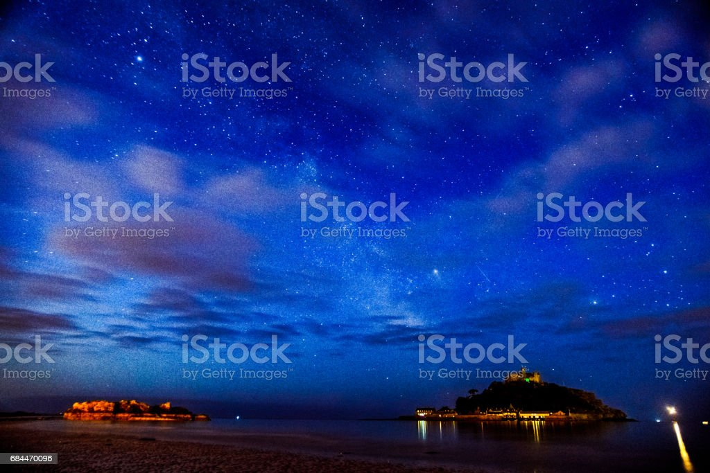 Milky Way over St. Michael's Mount stock photo