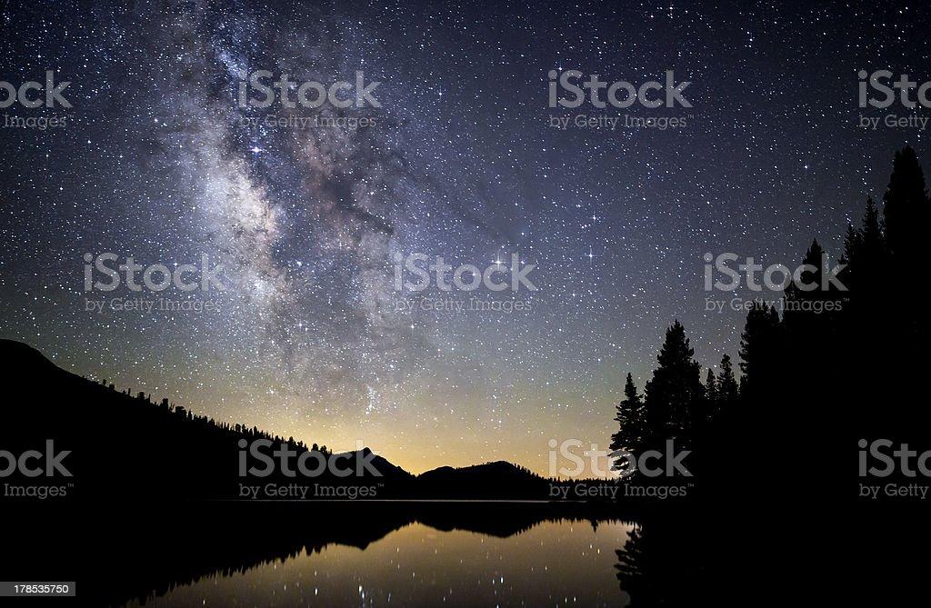 Milky Way over Tenaya Lake royalty-free stock photo