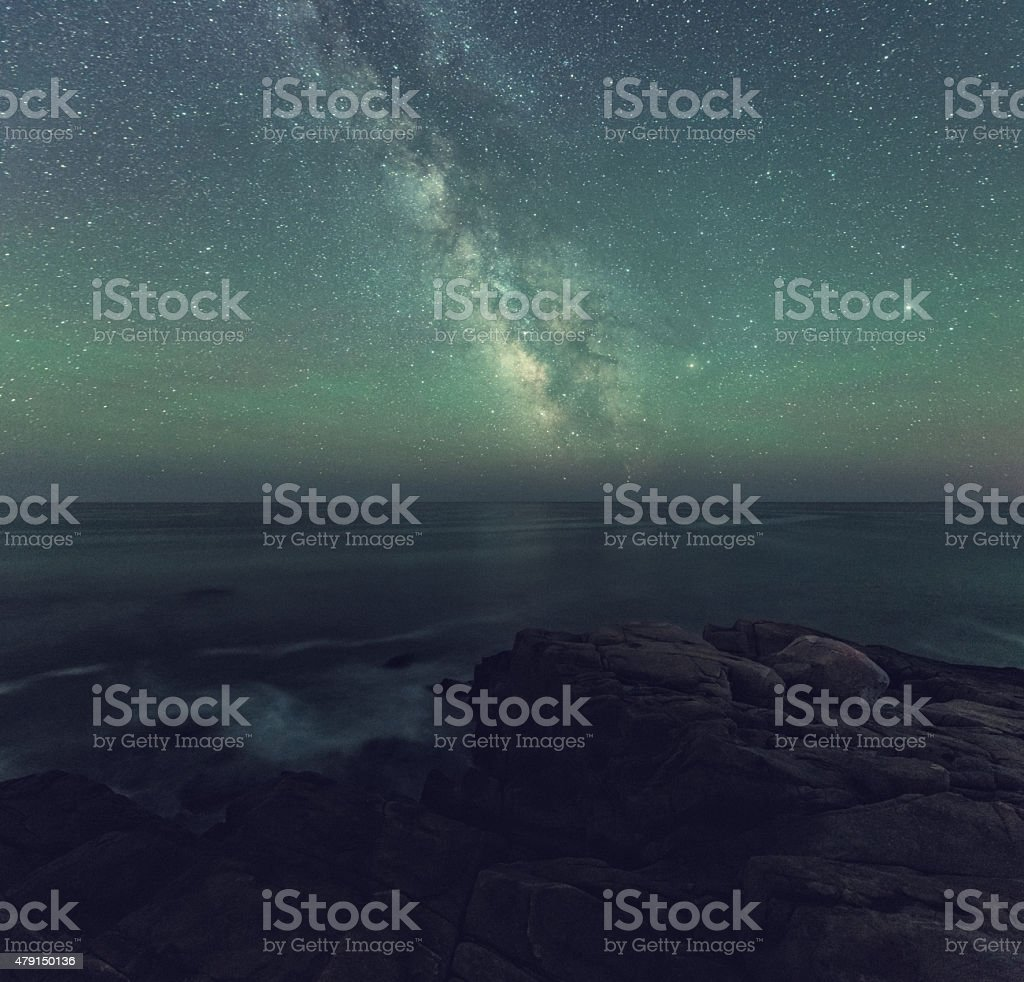 Milky Way over the Atlantic Ocean stock photo