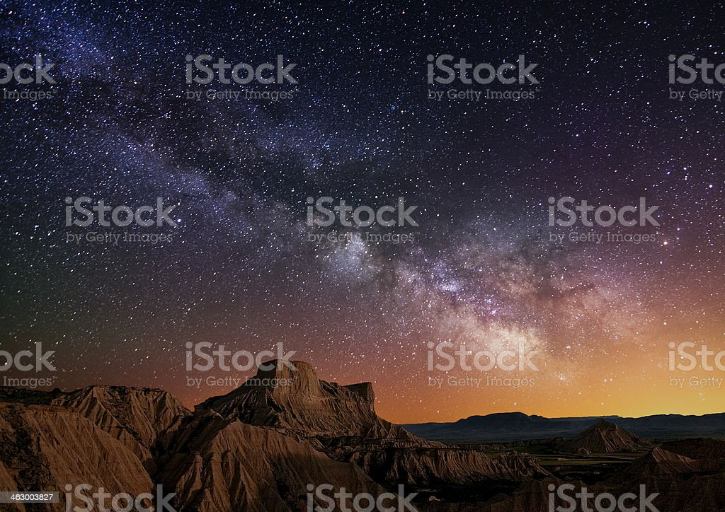 Milky Way over the desert royalty-free stock photo