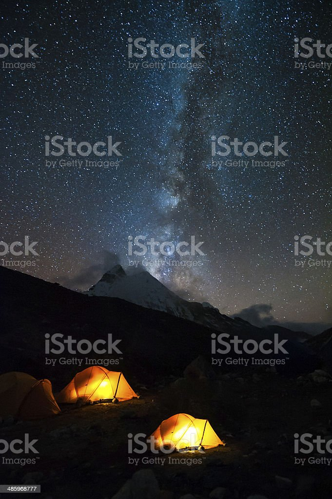 Milky way over the himalayas of Nepal stock photo