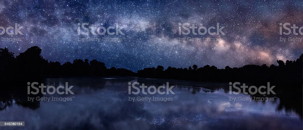 Milky Way over the lake stock photo