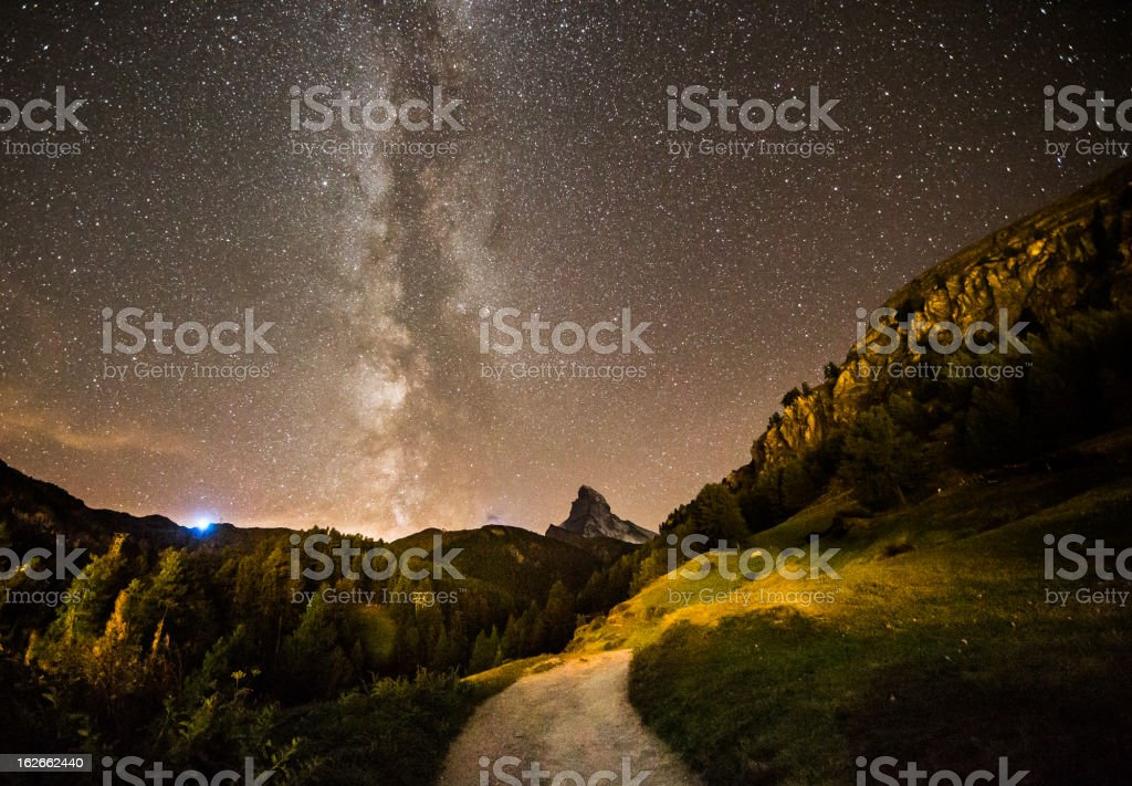 milky way over the matterhorn royalty-free stock photo