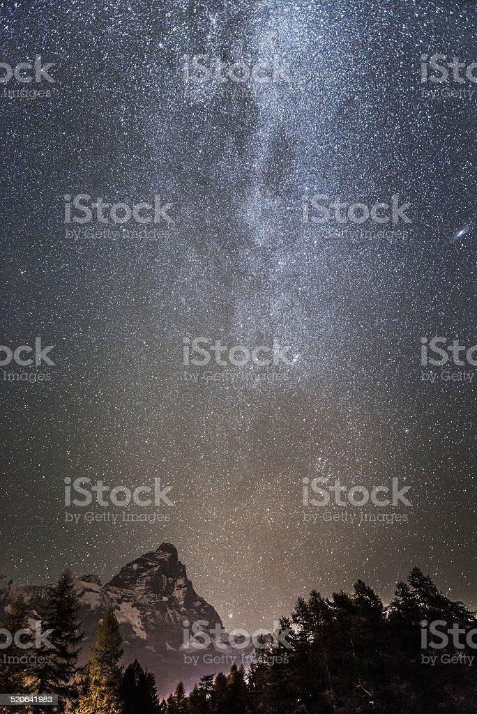 Milky Way over the Mount Cervino stock photo
