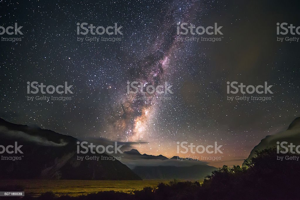 Milky Way over the Mount Cook National Park stock photo
