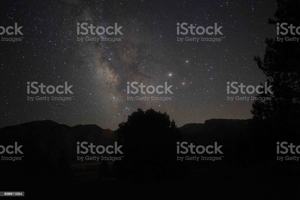 Milky Way over the Mountains stock photo