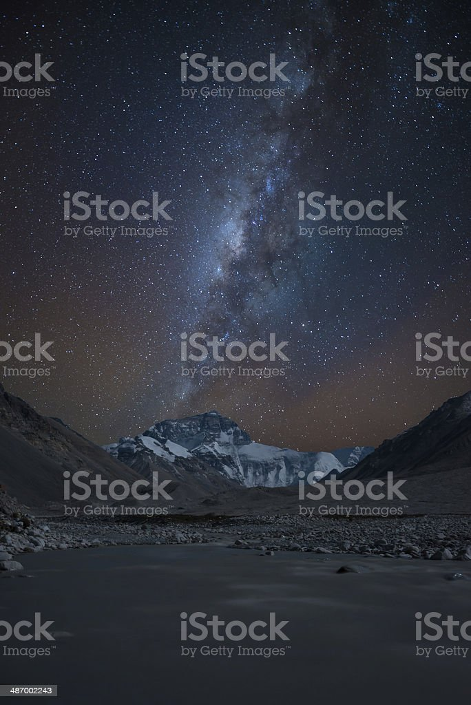 Milky way over the north face of Mt. Everest, Tibet stock photo