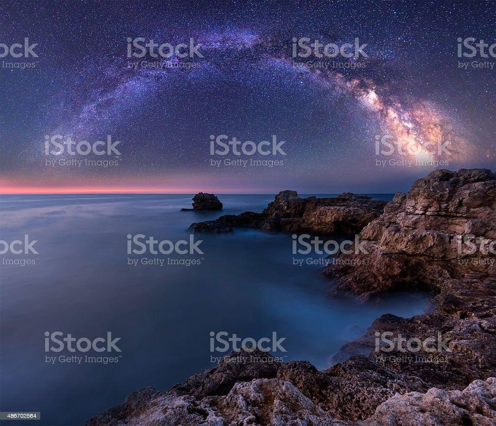 Milky Way over the sea stock photo