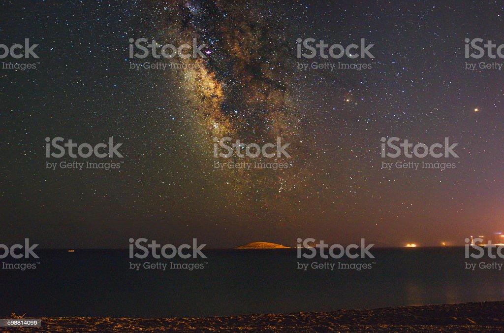 Milky Way over Tiny Island stock photo