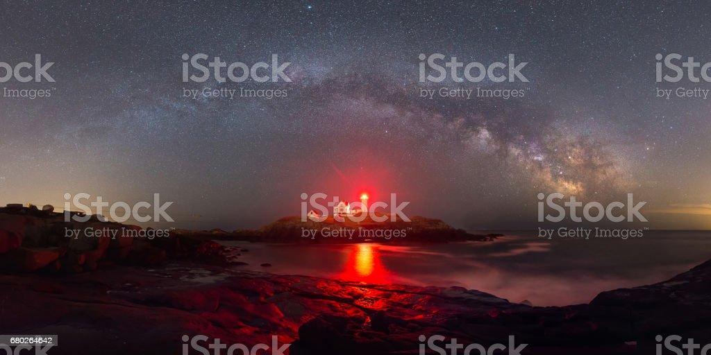 Milky Way Panorama over Nubble Lighthouse stock photo