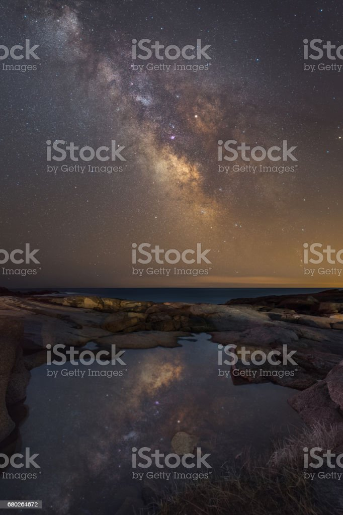 Milky Way Reflection in a tide pool stock photo