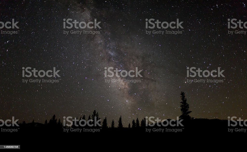 Milky Way shines over Tuolumne Meadows royalty-free stock photo
