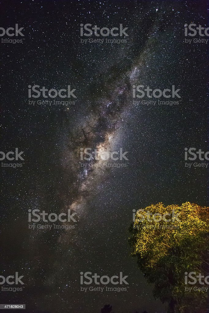 Milky Way shining bright at night royalty-free stock photo