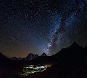 Milky way stars shining over Sherpa village Himalaya mountains Nepal