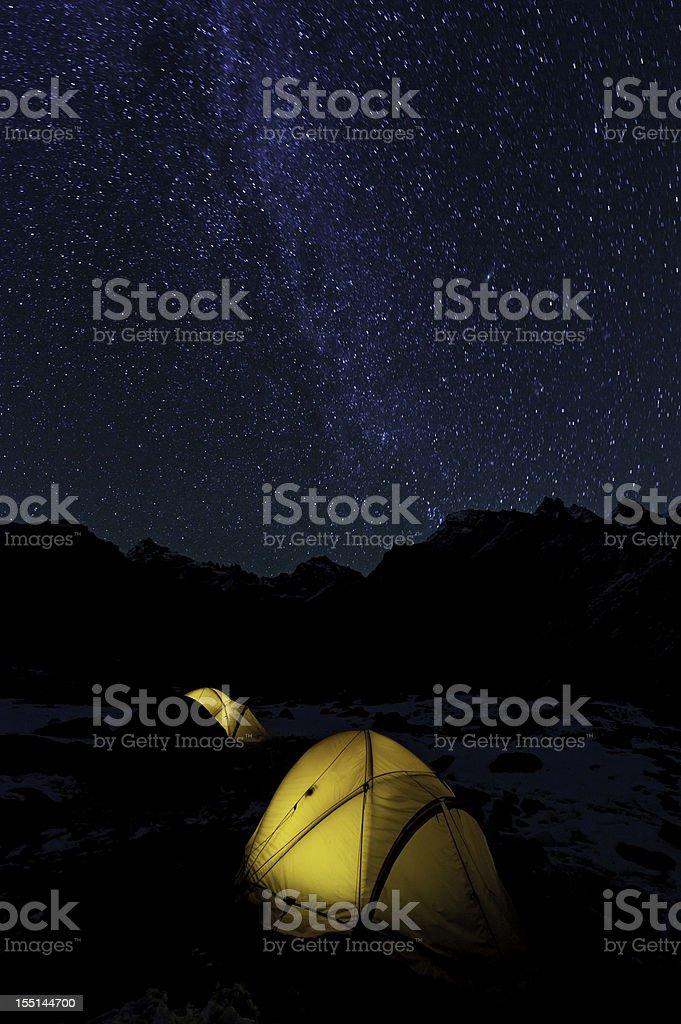 Milky Way stars yellow dome tents mountain peaks royalty-free stock photo