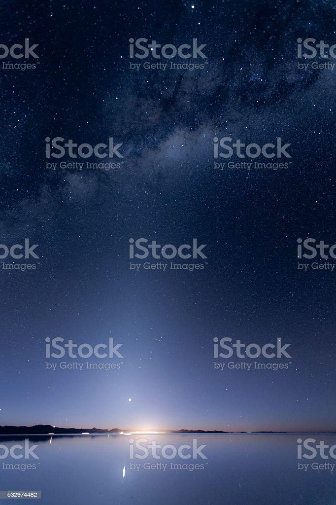 Milky way, Sunrise and Venus. stock photo