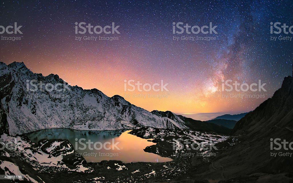 Milky way under the mountains stock photo