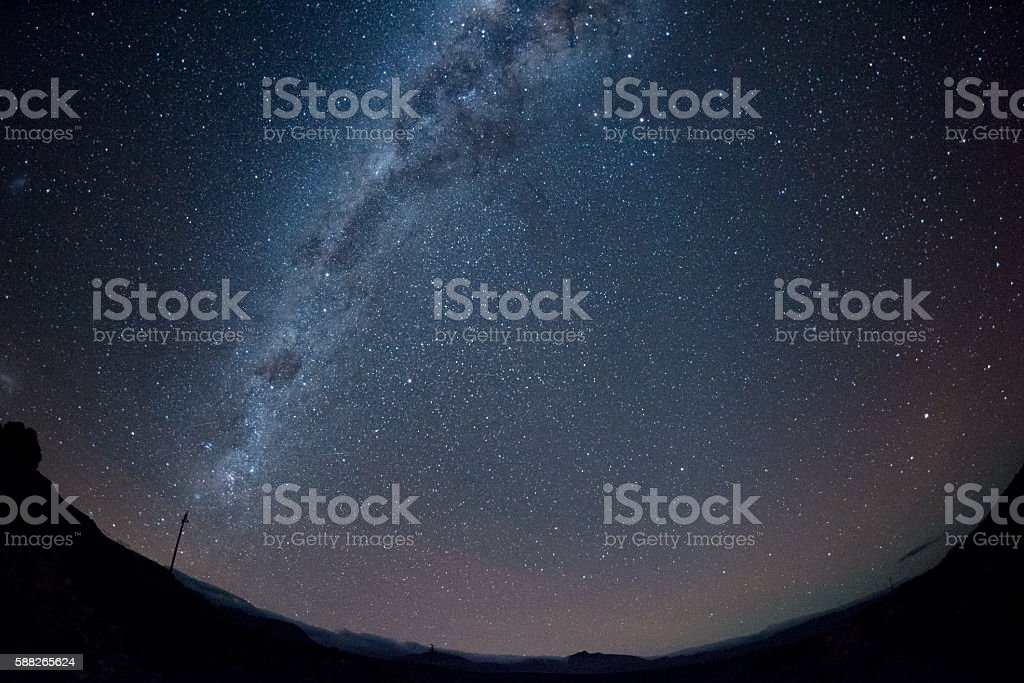 Milky Way with electricity pole on the horison stock photo