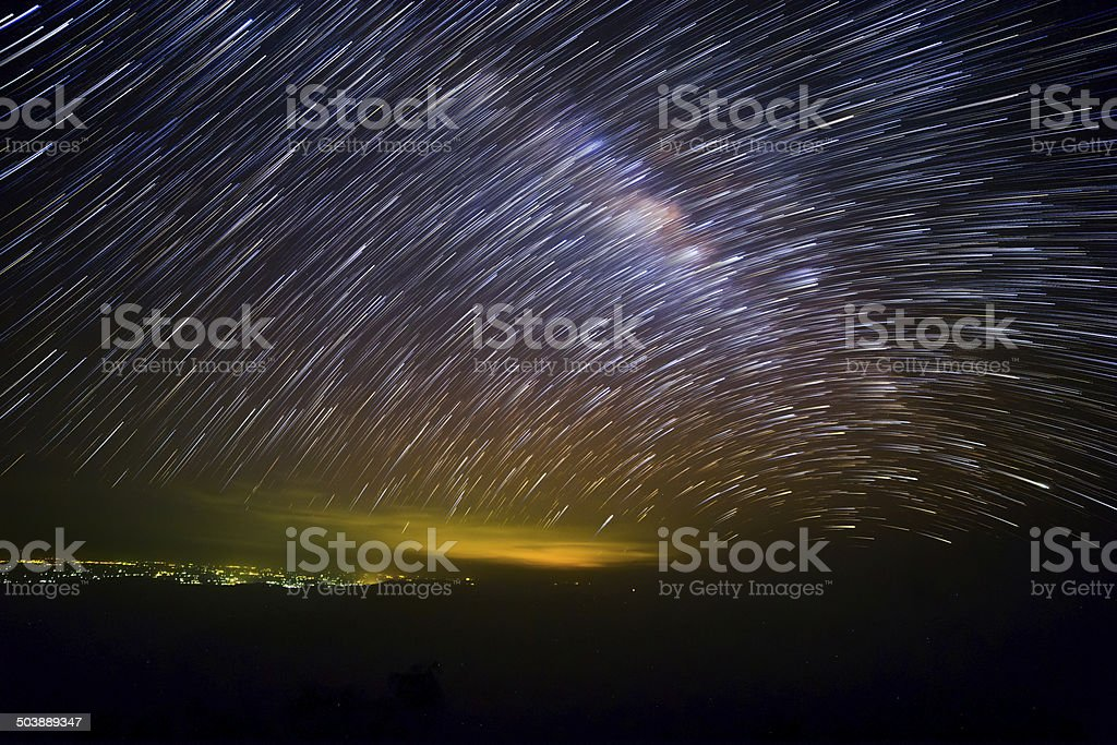 Milky Way with Startrails stock photo