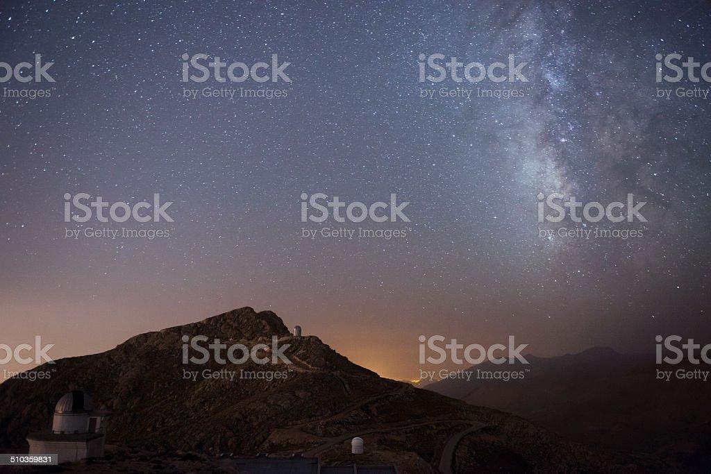 Milky Way with Telescope stock photo