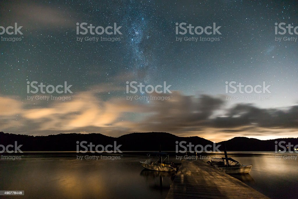 milkyway over the hawkesbury stock photo